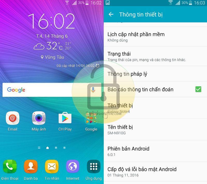 ROM tiếng Việt 6.0.1 cho Note 4 Samsung GalaxySM-N910G